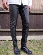 ASOS EDITION - Jeans i læderlook med sammensyede paneler-Sort