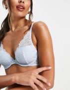 Calvin Klein - Blå letforet BH med dyb udskæring