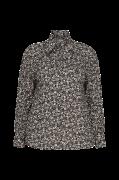 Leopardmønstret bindebåndsbluse