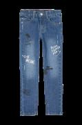 Smalle jeans med print og broderi