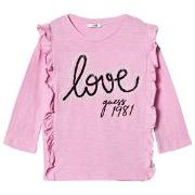 Guess Pink Frill Front Love Guess Tee 8 years