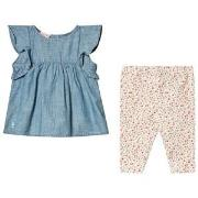 Ralph Lauren Blue Chambray Frill Top and Floral Leggings 3 months