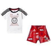 adidas Performance Spiderman T-shirt and Shorts Set White/Red 3-6 mont...